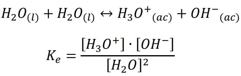 Modelo de Brönsted – Lowry el cual representa el equilibrio iónico del agua.