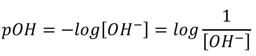 Expresión matemática que permite determinar el potencial de hidróxido (pOH).